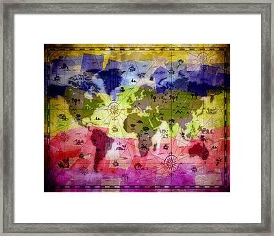 Whimsical World Map 2 Framed Print