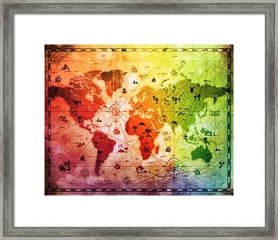 Whimsical World Map 4 Framed Print