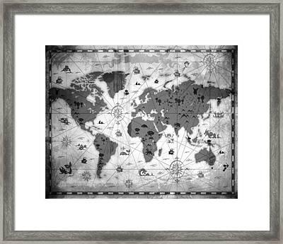 Whimsical World Map Bw Framed Print