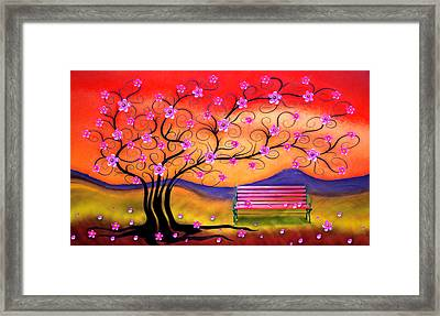 Framed Print featuring the digital art Whimsy Cherry Blossom Tree-1 by Nina Bradica