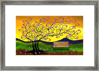 Framed Print featuring the digital art Whimsy Cherry Blossom Tree-2 by Nina Bradica