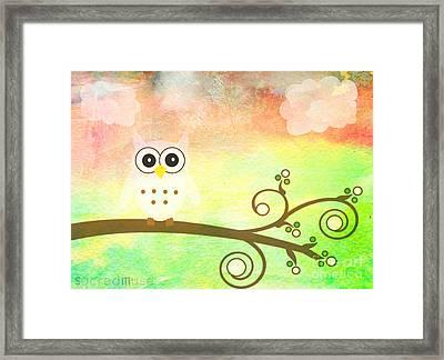 Whimsy Owl Kids Art Framed Print by Sacred  Muse