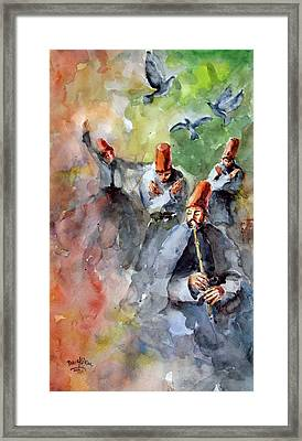 Framed Print featuring the painting Whirling Dervishes And Pigeons         by Faruk Koksal