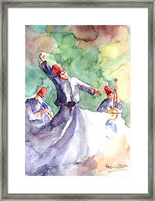 Framed Print featuring the painting Whirling Dervishes by Faruk Koksal