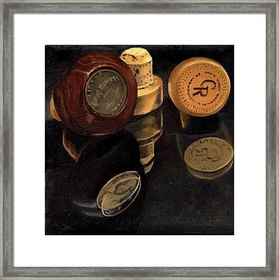 Whiskey Corks Framed Print