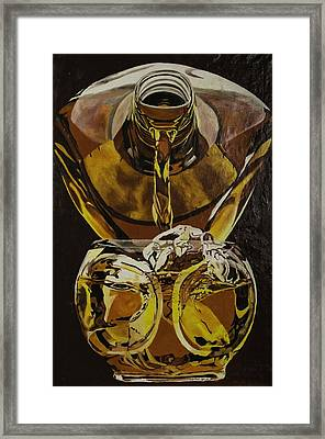 Whiskey Pour Framed Print by Herb Van de Eau