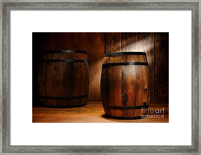 Whisky Barrel Framed Print by Olivier Le Queinec