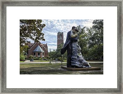 Whispering Close On The Plaza Of The Americas Framed Print