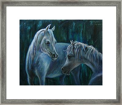 Framed Print featuring the painting Whispering... by Xueling Zou