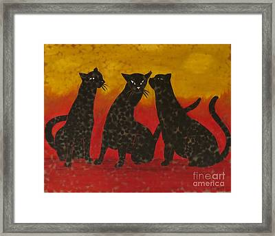 Whispers Of A Cat Framed Print by Emily Young