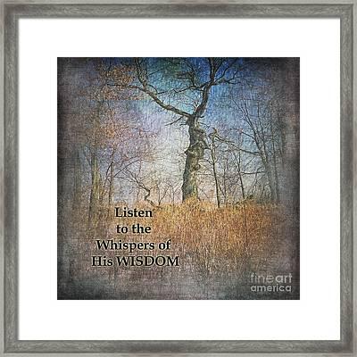 Whispers Of Wisdom Framed Print by Pamela Baker