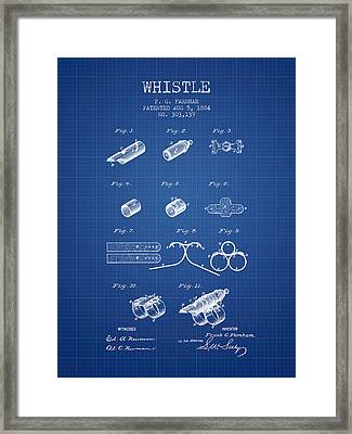 Whistle Patent From 1884 - Blueprint Framed Print by Aged Pixel