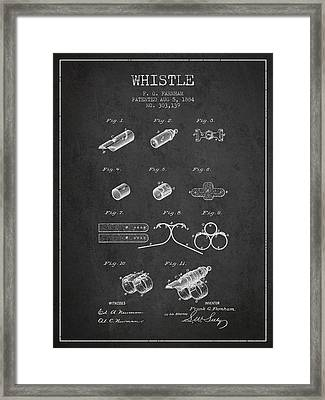 Whistle Patent From 1884 - Charcoal Framed Print by Aged Pixel