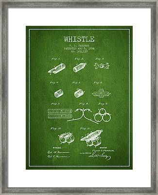 Whistle Patent From 1884 - Green Framed Print by Aged Pixel
