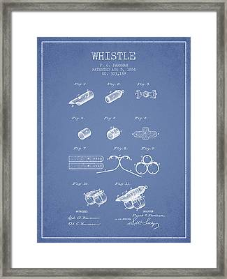 Whistle Patent From 1884 - Light Blue Framed Print by Aged Pixel