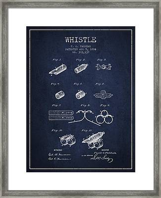 Whistle Patent From 1884 - Navy Blue Framed Print by Aged Pixel