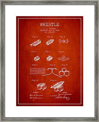 Whistle Patent From 1884 - Red Framed Print by Aged Pixel