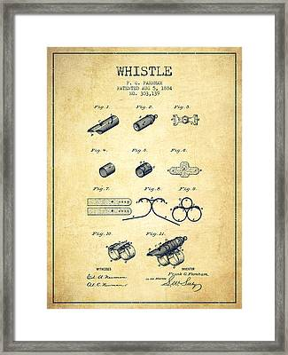 Whistle Patent From 1884 - Vintage Framed Print by Aged Pixel