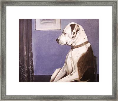 Framed Print featuring the painting Whistler's Mutt-er by Laura Aceto