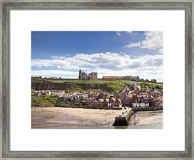 Whitby Abbey And Church Above The Harbour Entrance Whitby North Yorkshire England Uk  Framed Print by Jon Boyes