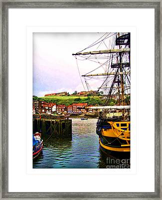 Whitby Harbor North Yorkshire Framed Print by Joan  Minchak