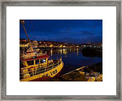 Whitby Upper Harbour At Night Framed Print by Louise Heusinkveld