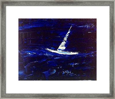 White Boat - Dark Sea And Sky Framed Print