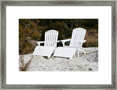 White Adirondack Chairs In The Sand Framed Print by Thomas Marchessault
