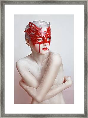 White And Blood Framed Print