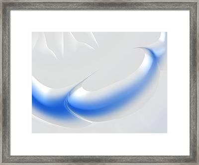 White And Blue Abstract Art Decorative Winter Color Theme Framed Print by Matthias Hauser