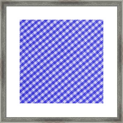 White And Blue Checkered Design Fabric Background Framed Print by Keith Webber Jr