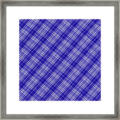 White And Blue Plaid Fabric Background Framed Print by Keith Webber Jr