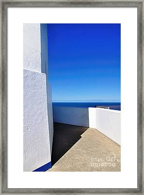 White And Blue To Ocean View Framed Print by Kaye Menner