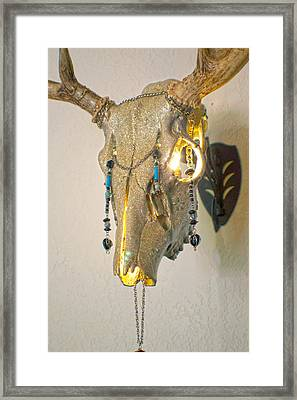 White And Gold White Tail Illuminating Skull Framed Print