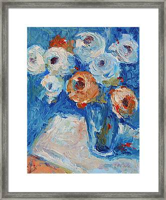 White And Orange Roses In A Sea Of Blue Framed Print