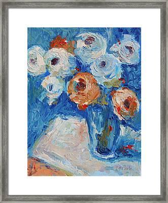 White And Orange Roses In Sea Of Blue Oil Painting Bertram Poole Framed Print by Thomas Bertram POOLE
