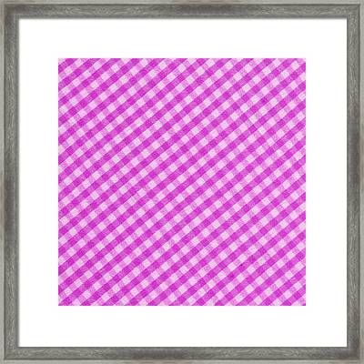 White And Pink Checkered Fabric Background Framed Print by Keith Webber Jr