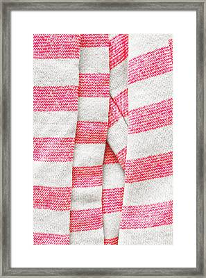 White And Pink Stripes Framed Print