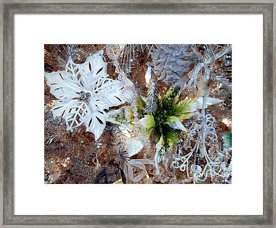 White And Silver Poinsettia Sparkle Framed Print