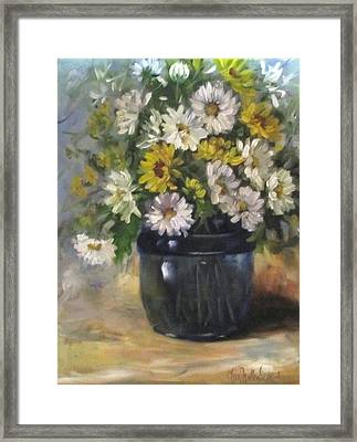 White And Yellow Daisies Still Life Framed Print