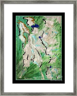 White Angel In Flight With Green Sky Framed Print by Cathy Peterson