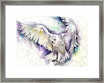 White Arctic Polar Owl - Wizard Dynamic White Owl Framed Print