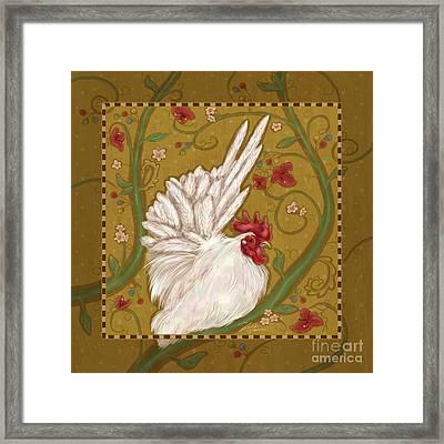 White Bantam Rooster Framed Print