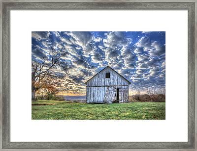 White Barn At Sunrise Framed Print