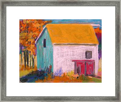 Framed Print featuring the painting White Barn by John Williams