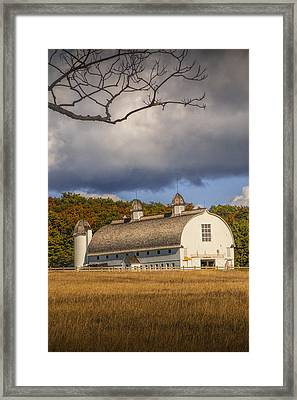 White Barn Of The D.h. Day Farm Framed Print