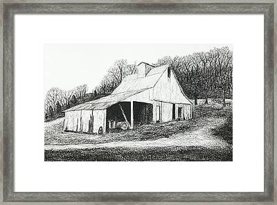 White Barn On Bluff Road Framed Print