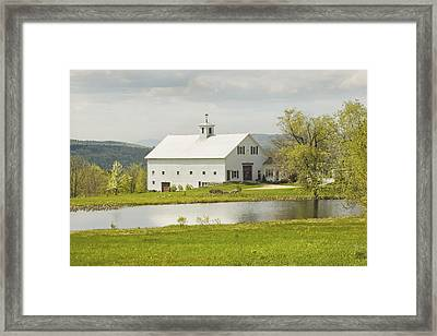 White Barn On Farm In Maine Fine Art Prints Framed Print by Keith Webber Jr