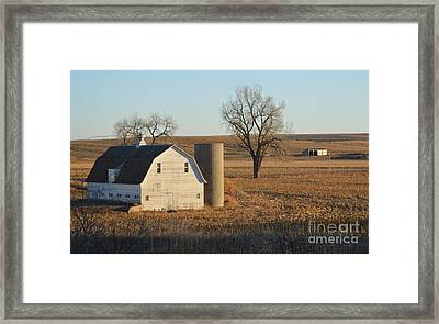 White Barn With Silo Framed Print by Renie Rutten