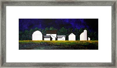 Framed Print featuring the painting White Barns by William Renzulli